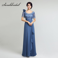 Elegant Short Sleeve Lace Bodice Mother Of The Bride Dresses With Flower Long Chiffon Pleat Sequined