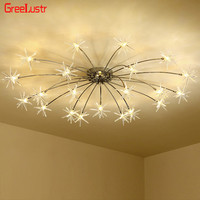 Creative Design LED lamp Ceiling Chandeliers Lamp Light Ice Flower Glass Plafonnier for Bedroom Lustre Home Decor Light Fixtures