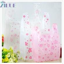 Zilue – sacs en plastique avec impression simple face, pour les courses au supermarché, en matière nouvelle, sacoches cadeaux pour cosmétiques, 100 pièces/lot