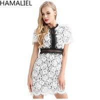 HAMALIEL Summer Women Party Dress 2018 Runway Fashion Slim Lace Hollow Out Patchwork Shrot Sleeve Lady Bodycon Pencil Dress