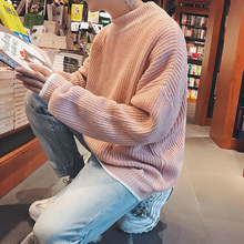 Japanese Round Neck Long Sleeve Solid Color Knitting Men Sweater 2018 Autumn Casual Succinct Loose Male Pullover Couple M-2XL