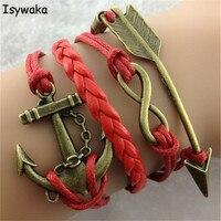 Isywaka Groothandel 1 Dozijn Liefde pijl Lederen Gevlochten Armband Cords Wrap Bangles Mannen Vrouwen Charm Retro Armband Gift