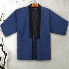Jacket Male Kimono Casual Haori Winter One-Size Warm Autumn Thick Home Cotton Men Overcoat