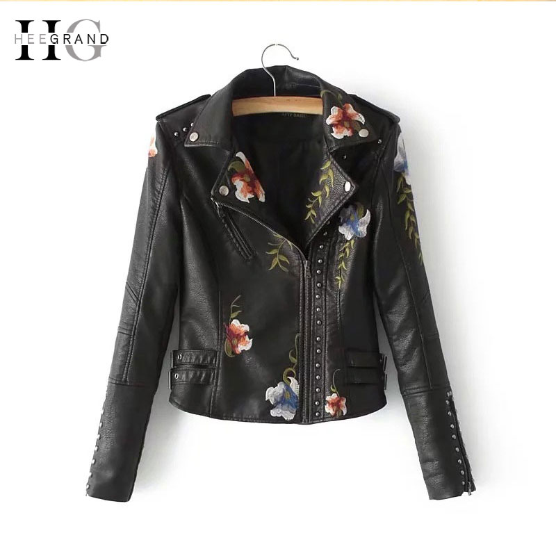 HEEGRAND Slim PU   Leather   Rivet Jackets Women 2018 Autumn New Punk Motorcycle Jacket Embroidery Short Coats Black Outwears WWP206