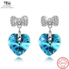 купить LEKANI Crystals From Swarovski Cat Pearl Drop Earrings 925Women's Earrings Heart Shaped Fashion Jewelry Bow Bijoux Chic Blue в интернет-магазине