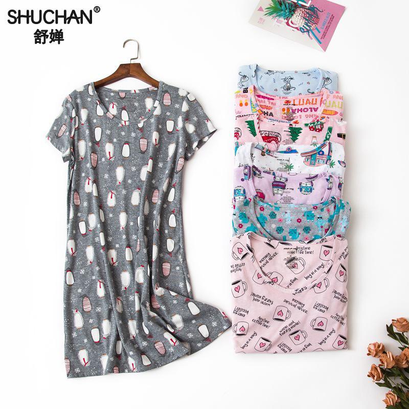 Shuchan 100% Cotton Summer Dress Women Sleepwear Nightgown Pijama Cute  Night Dress Women New Items Short Sleeve Clothing 1803-in Nightgowns    Sleepshirts ... d3608b0d8