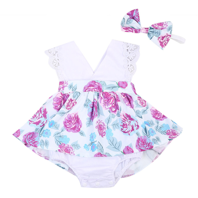 Infant Baby Kids Girls Dress Sleeveless Summer Cute Lace V-neck Outfits Flower Printed Romper Dress Headband Clothes 2PCs