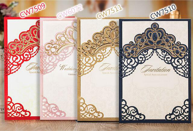 Royal Gold Pink Red Navy Blue Laser Cut Wedding Invitation Cards With Embossed Hollow Flora