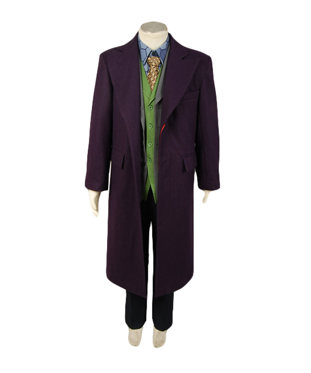Batman Dark Knight Joker Costume Purple Long Wool Trench Coat Costume Cosplay Halloween Carnival