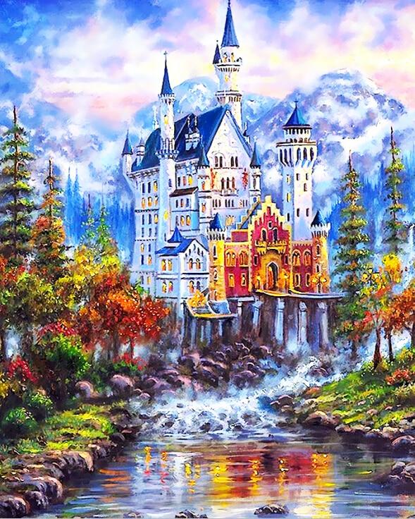 DRAWJOY Incorniciato Europa Paesaggio Pittura e Calligrafia Oi Pittura Digitale di DIY Dai Numeri Home Decor GX7188 40*50 cm