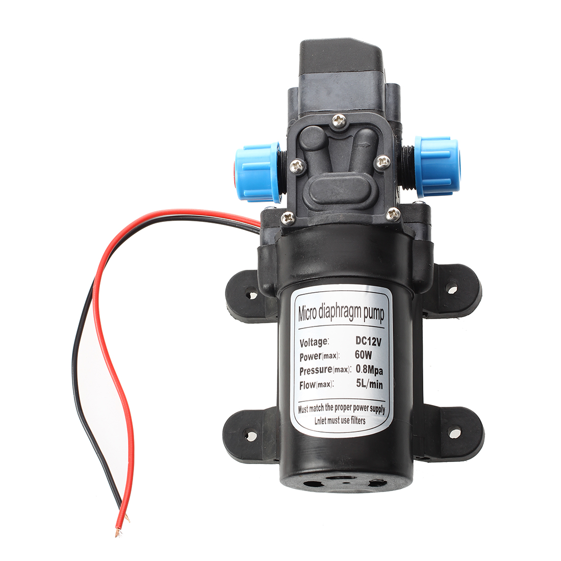 Black DC 12V 60W high-pressure mini membrane water pump automatic shutdown 5L / min