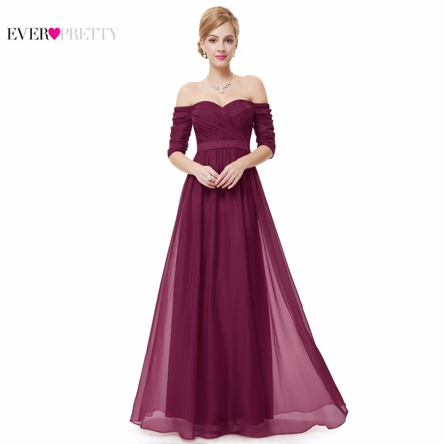 Evening Dress Ever Pretty EP08411 Women Elegant Off The Shoulder A Line Chiffon Long Formal Party Dress 2017