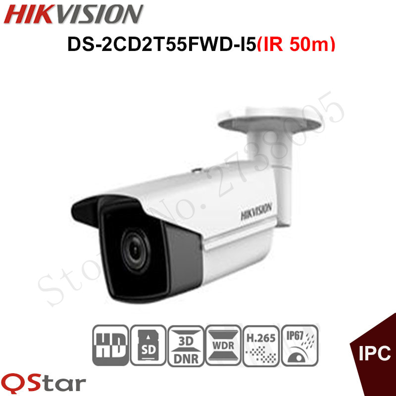 Hikvision Original English H.265 5MP IP Camera DS-2CD2T55FWD-I5 5MP Bullet Security CCTV Camera IP67 on-board storage IR 50m hikvision original outdoor cctv system 8pcs ds 2cd2t55fwd i8 5mp h 265 ip bullet camera ir 80m poe 4k nvr ds 7608ni i2 8p h 265