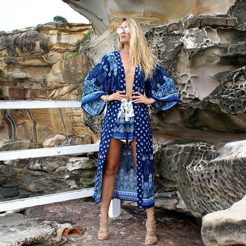 2018 Beach Cover-ups Women Bohemia Bikini Long Cover up Dress Pareos Para playa Tunics Beach Robe de Plag Bathing suit Cardigan