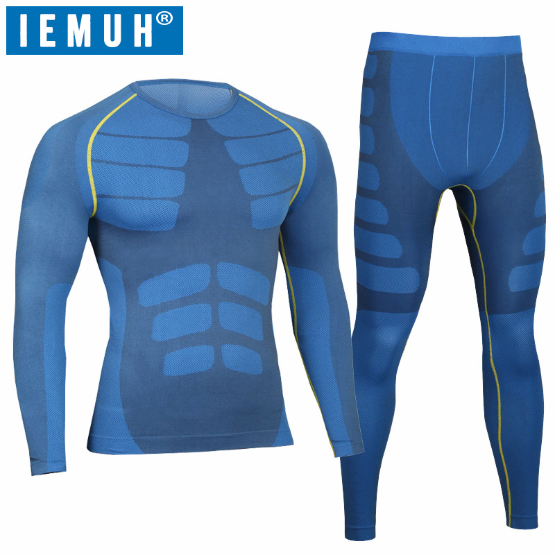 IEMUH Merk Heren Outdoor Sport Winter Thermisch Ondergoed Fitness Warm Thicken Polyester Hardlopen Wandelen Ski Heren Lang Ondergoed Pak