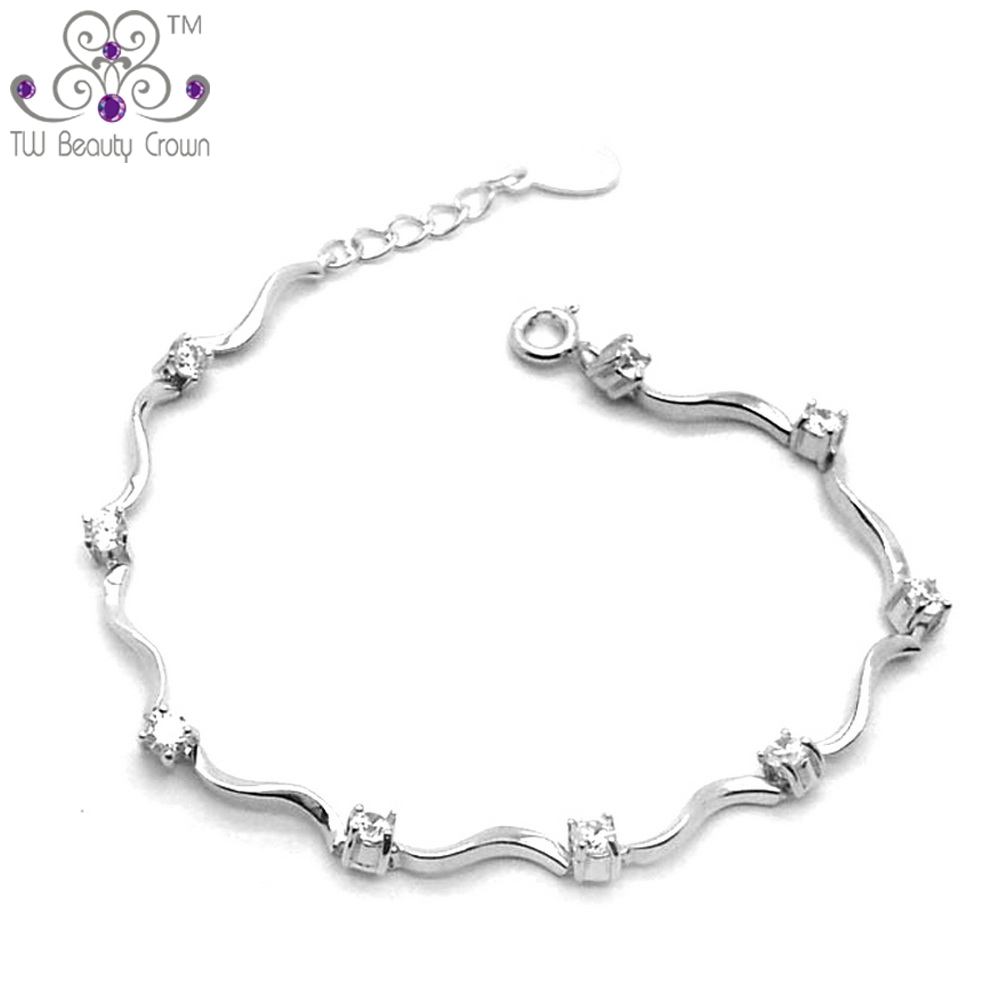 Real Solid 925 Sterling Silver Fashion Romantic Women S AAA Grade Cubic Zirconia Chain Link Bracelet