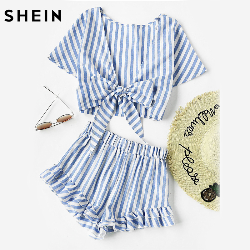 SHEIN Blue Plunging Bow Tie Short Sleeve Two Way Tank Top and Ruffle Shorts Set Women Summer 2017 Girl Backless Two Pieces Set exaggerate bow tie neck ruffle trim top