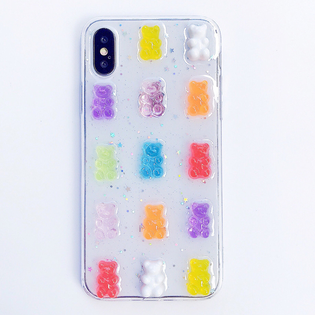 Qianliyao Cute 3D Candy Colors Bear Phone Case for iphone X XS Max XR 8 7 6 6S plus 11 12 Pro Max Se 2020 Glitter Soft Cover 3