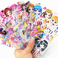 8 Sheets toy for Girls children  bubble stickers Cute DIY  Stickers Changing Clothes Lovely Girls Dress up  Kids Creative