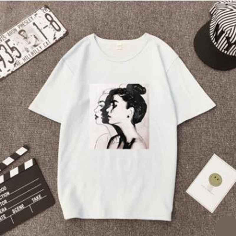 Qrxiaer Ulzzang T-shirts Vrouw Lente Zomer Meisjes Print Korte Mouw O-hals T-Shirt Losse Vrouwen Tops Slim Fit Soft Lady Tshirts