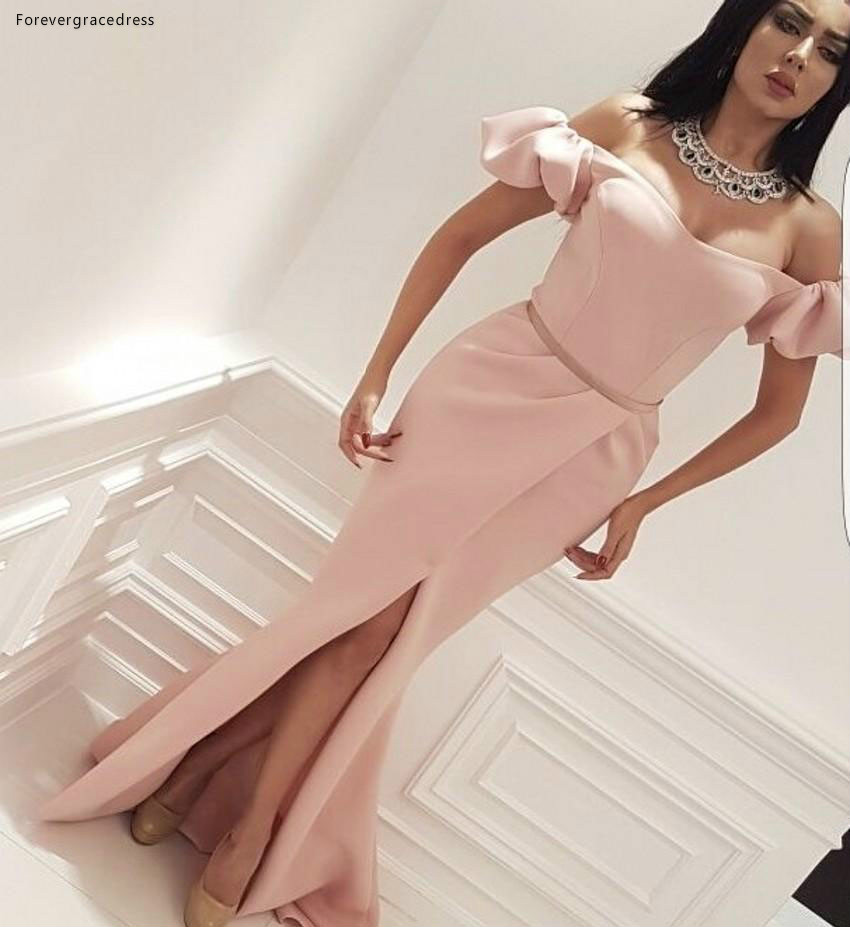 2019 Cheap Pink Long   Evening     Dress   Arabic Dubai Mermaid Front Split Holiday Women Wear Formal Party Prom Gown Plus Size