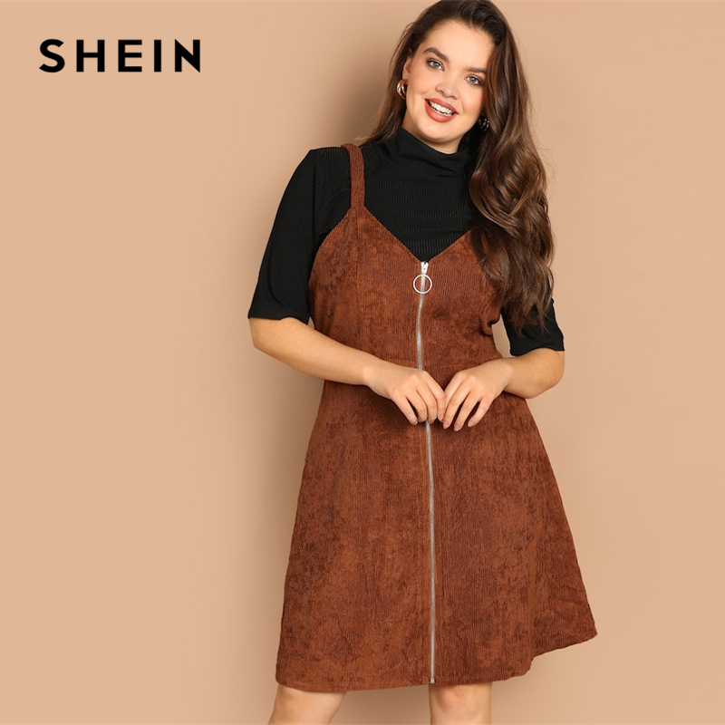 028f7a77da91a SHEIN Plus Size O-ring Zip Front Corduroy Pinafore Fit And Flare Spaghetti  Strap Dress 2019 New Spring Knee Length Dresses
