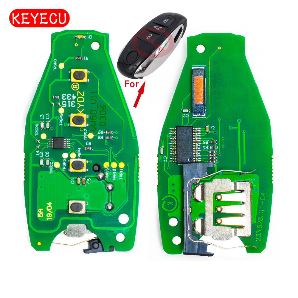 Keyecu 10pcs/lot Smart Remote Board 3 Button 315MHz/433MHZ/868MHz PCF7953 Chip for VW Touareg 2010-2014