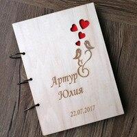 Coração Livro de Visitas, Livro De Convidados Do Casamento Dos Pássaros do amor casamento rústico presente de casamento gravado livro de visitas