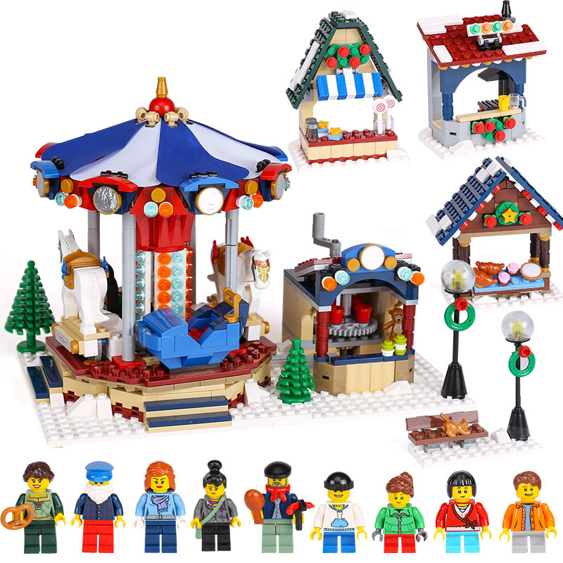 Lepine 36010 1412pcs Winter Village Market Carousel Model Building Blocks Bricks Toys For kids Compatible legoe Chrismas 10235 lepine model