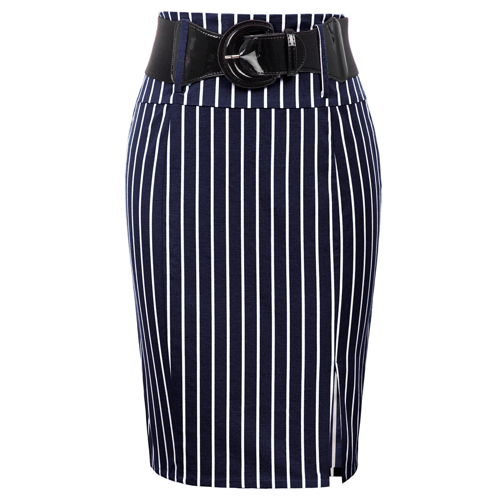 Women Pinstripe Skirts High Waist Belt Hips-wrapped Knee Vintage Slim Elegant Office Lady Business Work Bodycon Pencil Skirt