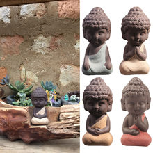9x4.3cm Small Buddha Statue Monk figurine tathagata tea purple ceramic crafts decorative ornaments monk(China)