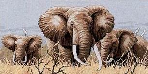 14/16/18/27/28 Lovely Counted Cross Stitch Kit Power of the Serengeti Three Elephants Elephant Family dim 35012 image
