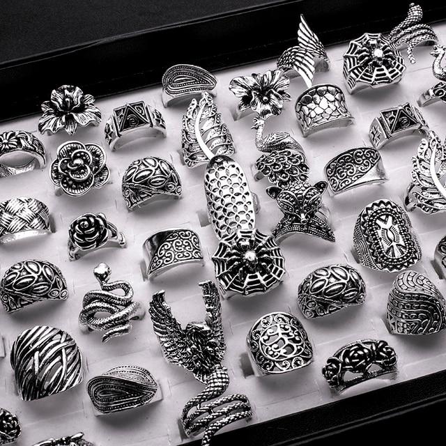 Lote de anillos barrocas de estilo gótico tribal para hombre y mujer, de alta calidad, tallados, vintage, bronce, 25 uds., venta al por mayor