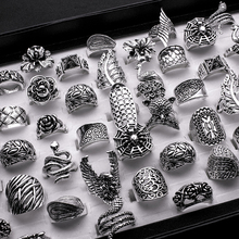 Lotes por atacado misturados 25 pçs gótico tribal senhora/masculino esculpida de alta qualidade vintage bronze antiquado barroco anéis