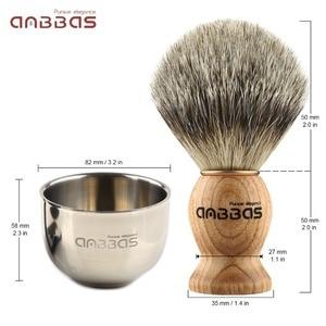 Image 3 - 4 шт., щетка для бритья Anbbas Pure Badger, подставка для бритья из нержавеющей стали и двухслойная чаша для бритья и набор мыла для бритья из козьего молока