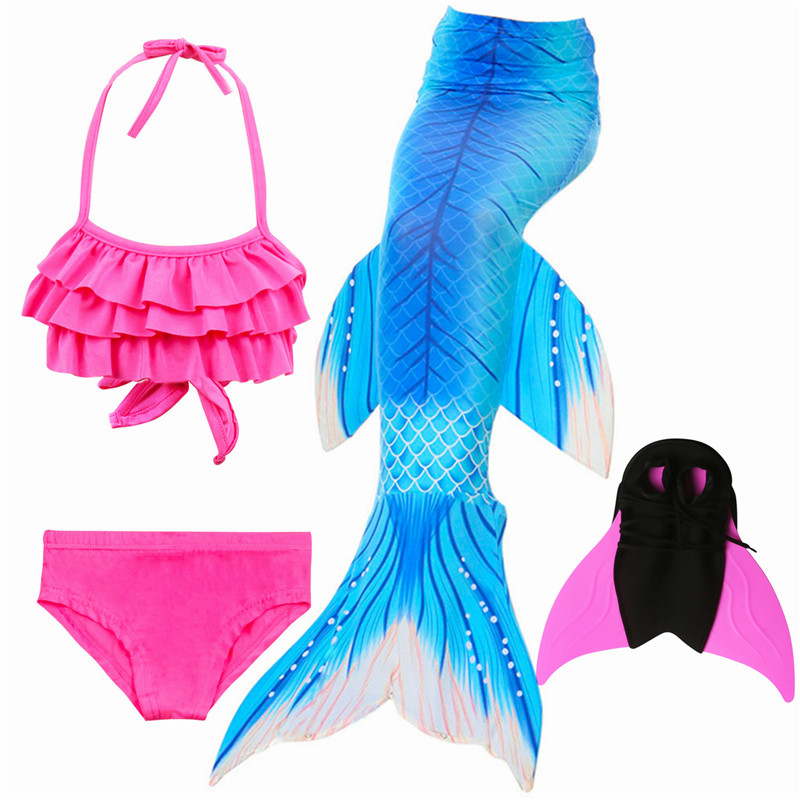 Ariel Swimmable Mermaid Tail for Swimming Children Swimming Mermaid Tails With Monofin Fin Girls Kids Mermaid Cosplay Costume