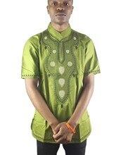 Africa Both Sides Embroidery Men`s Ethnic Tops Mandarin Collar Dashiki Shirts For Wedding Wearing