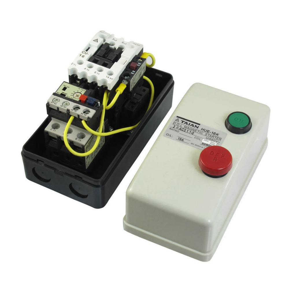 Ac 220v coil 12 5a 18a 3 phase push button control motor for 3 phase motor starter