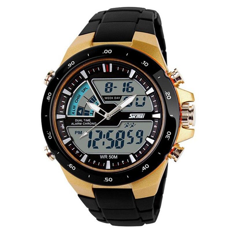 Fashion Luxury Watches Men Dual Display Clocks Waterproof Multi Function LED Sports Watch Alarm Gold Creative Jun21