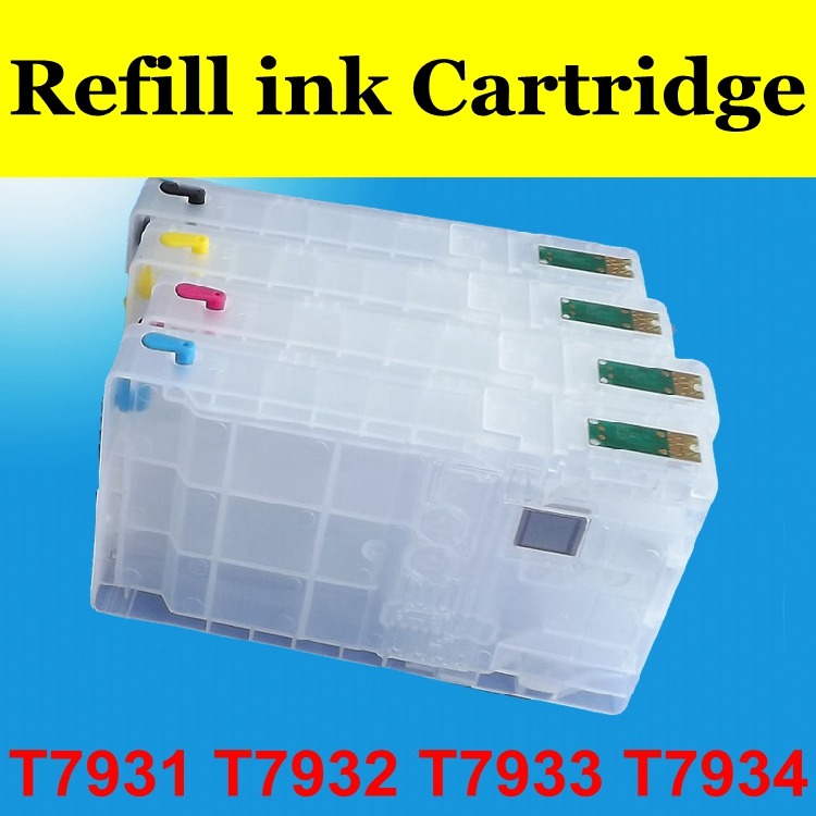 Refill ink cartridge for T7931 T7932 T7933 T7934 printer WF-5623 WF5113 ciss ink cartridge t499 t504 refill ink cartridge for epson 10600 printer with show ink level resettable cartridge chip 850ml pc