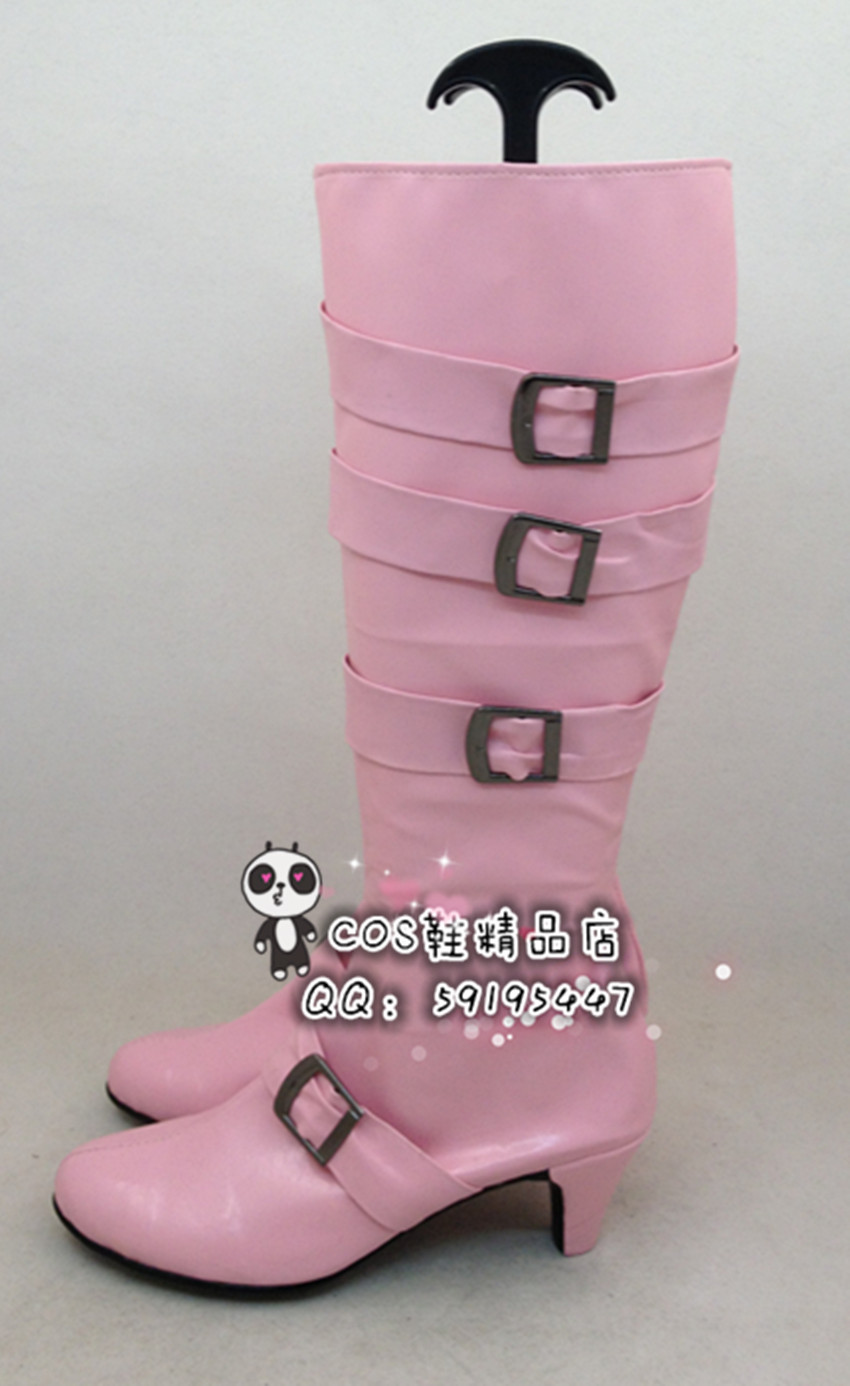 The King Of Fighters KOF Shermie Pink Long Halloween Cosplay Shoes Boots X002