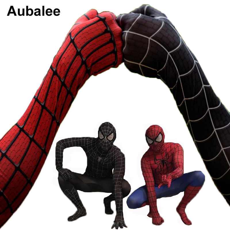 Black Red <font><b>Spider-man</b></font> <font><b>Costume</b></font> <font><b>Men</b></font> Adult Spiderman Cosplay Suit Spandex Superhero <font><b>Costume</b></font> With Mask Halloween Party Zentai Suit