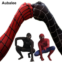 Black Red Spider Man Costume Men Adult Spiderman Cosplay Suit Spandex Superhero Costume With Mask Halloween
