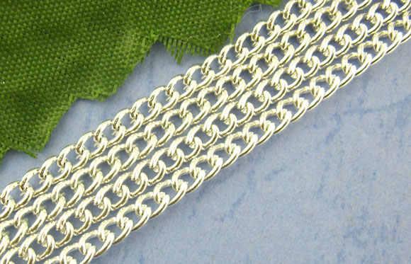 2x3mm-10m cadenas de cuentas de hierro de bola de plata para mujer collar de cadena de joyería para hacer accesorios de bricolaje Material artesanal hecho a mano