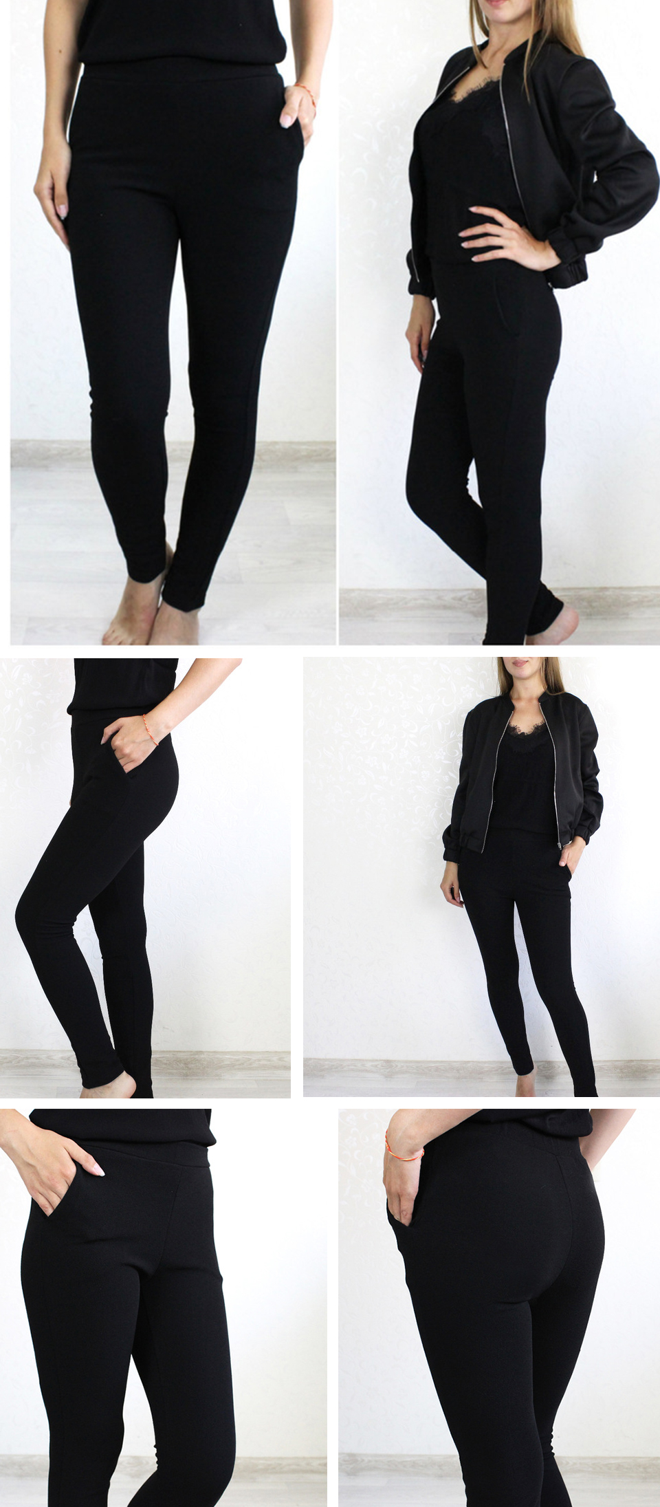 SHEIN Elastic Waist Mid Waist Skinny Trousers Autumn Office Lady Elegant Slim Fit Vertical Women Pencil Pants 4
