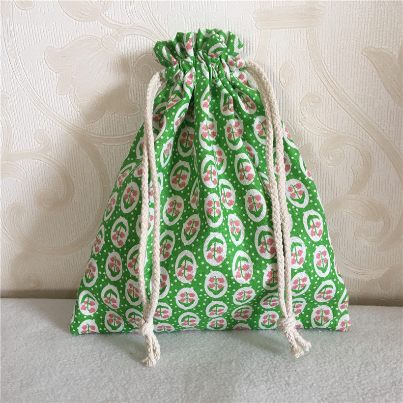 YILE Cotton Linen Drawstring Multi-purpose Organizer Bag Party Gift Bag Grass Flower Green 8502-4