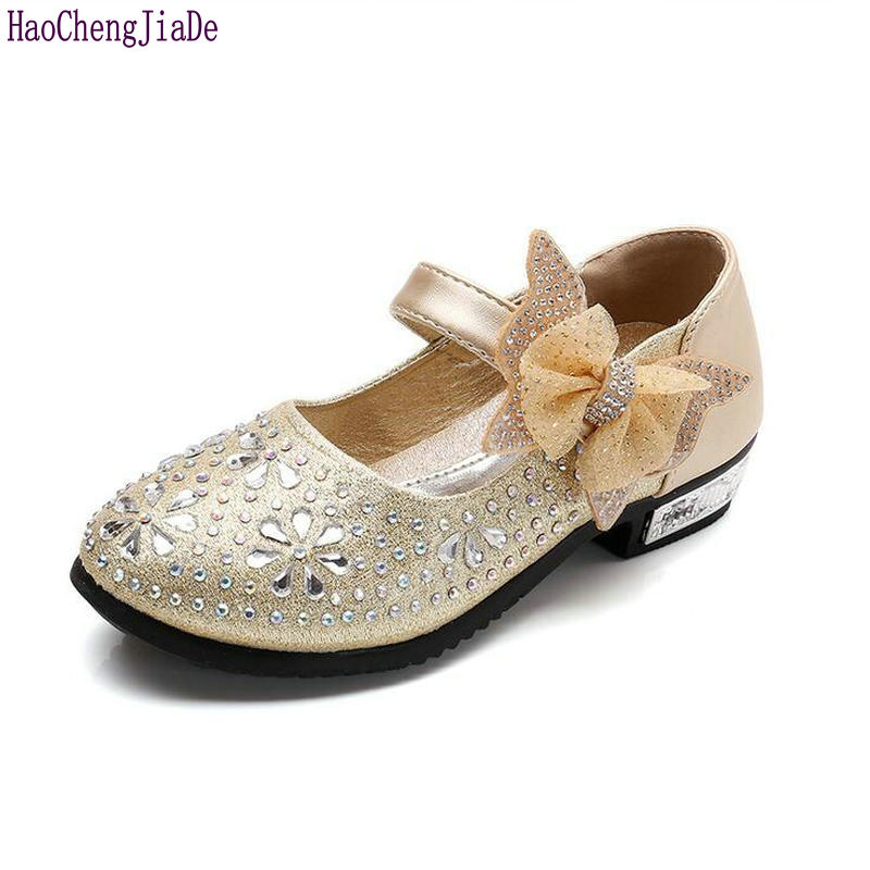 New Summer Fashion Girls Kids Shoes Princess Rhinestone Bow Glitter Leather Shoes For Girls Spring Children Princess Shoes