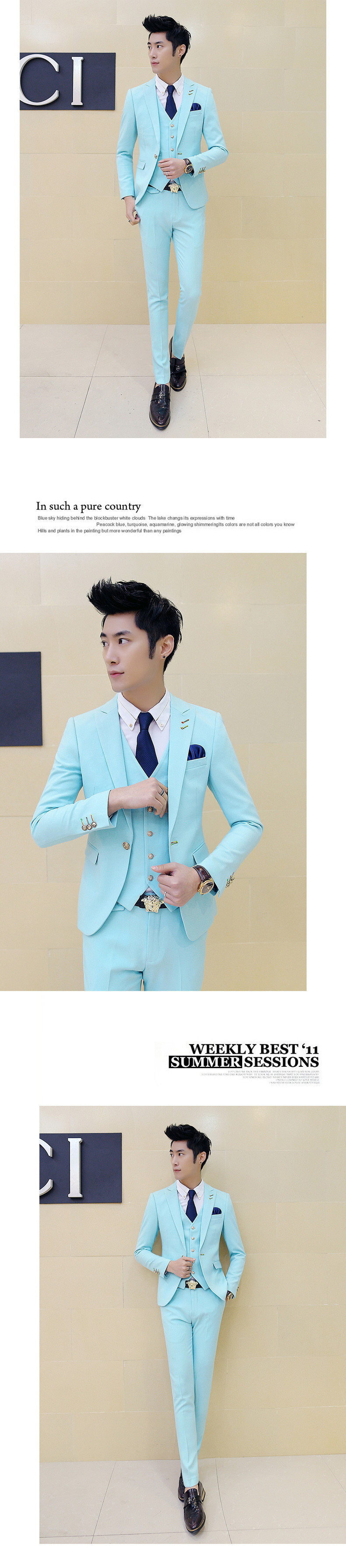 Bridegroom Suit 2016 New Brand Mens Suit Designers Wedding Party Event Solid Green Pink 10 colors Slim Fit Prom Suit 3 piece-in Suits from Men\'s ...
