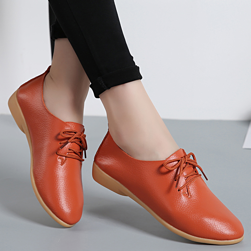 Genuine Leather Women Flats White Loafers Ladies Casual Oxford Shoes Pointed Toe Ballerina Lace Up Sapato Feminino Size 35-44 pu pointed toe flats with eyelet strap