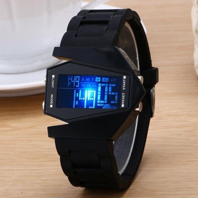 Cartoon Aircraft Shape Jelly Silicon Band LED Digital Watch Electronic Wristwatc